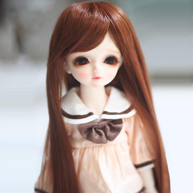 1/3 1/4 1/6 Bjd SD Doll Wig High Temperature Wire Brown Fashion Straight BJD Super Hair Wig Accessories