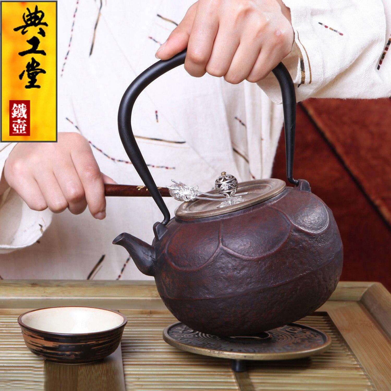 2016 Nenhum Revestimento de Ferro Fundido Bule de Chá Japonês Kung Fu Jogo de Chá conjunto Handmade Japão Trono de Lótus Retro Pote Chaleira Com Filtro de 1200 ML