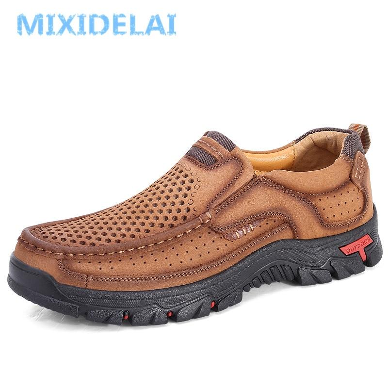 MIXIDELAI جلد أصلي للرجال أحذية انكلترا تريند الذكور الأحذية مجموعة القدم الرجال في الهواء الطلق عادي رجل الشقق أحذية عمل كبيرة Size48