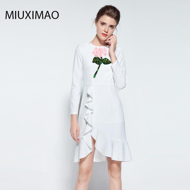 Известный бренд Runaway 2018 новейшая Весенняя мода с длинным рукавом Ebroidery блёстки 3D цветок винтажное Повседневное платье с оборками для женщин