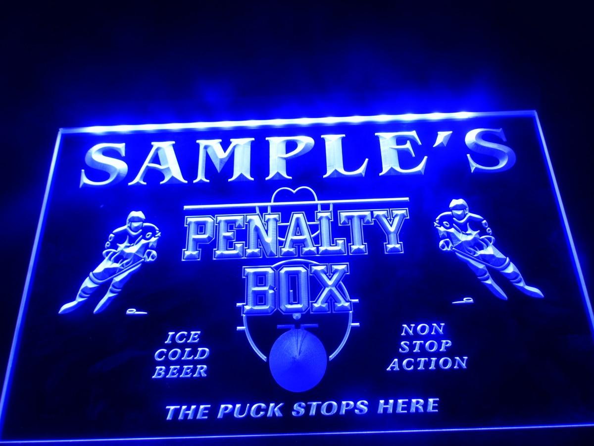 DZ050-nombre personalizado Hockey Penatly caja Bar cerveza neón cartel para colgar el hogar manualidades decorativas