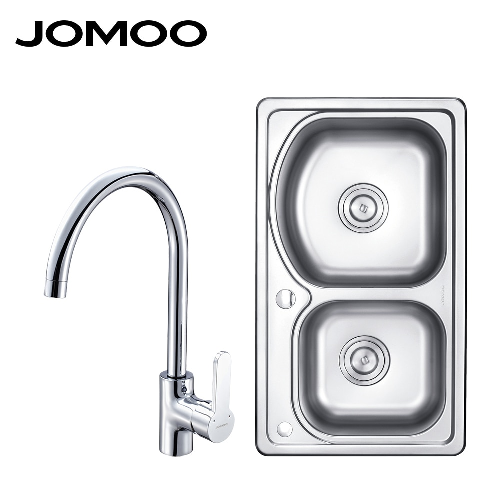 sink or swim pубашка JOMOO kitchen Sink Stainless Steel Double Bowl Above Counter or Udermount Sink Vegetable Washing Basin Thick Sink Kitchen Faucet