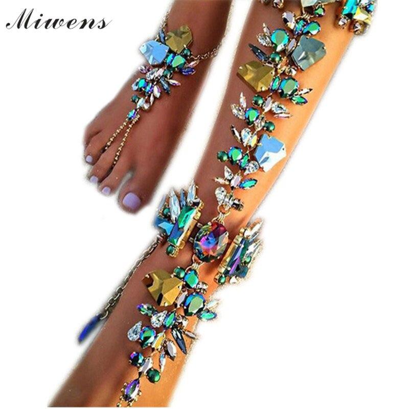 Miwens quente nova moda 2016 tornozelo casamento descalço sandálias praia pé jóias sexy torta perna corrente feminino boho cristal anklet 6714