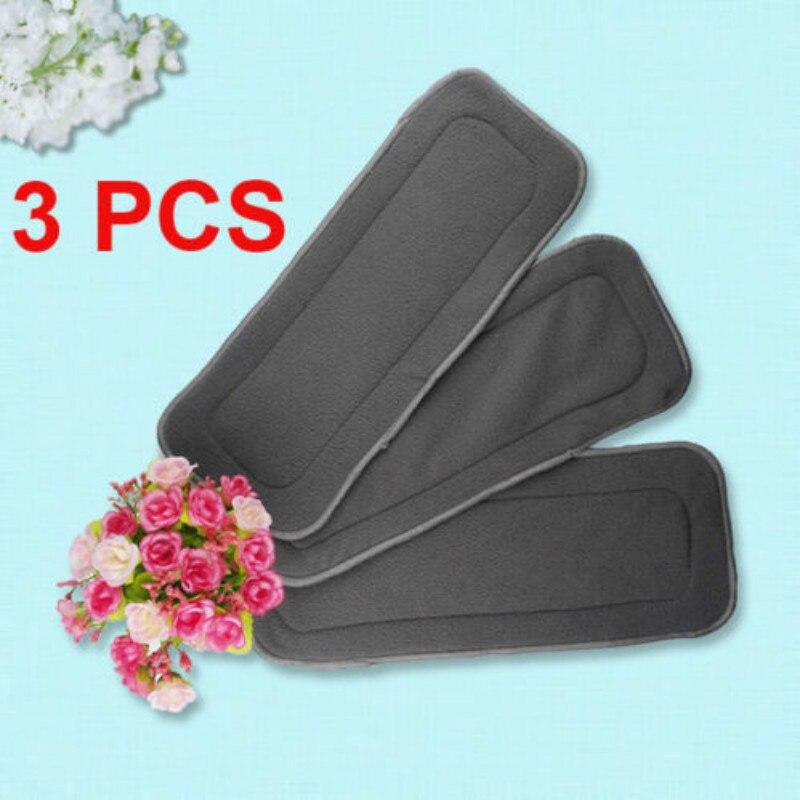 3 pçs/set Reutilizáveis 4 Camadas Suave Fibra de Bambu Carvão Fraldas Do Bebê fralda de Pano Fralda Insere Forros de Fraldas
