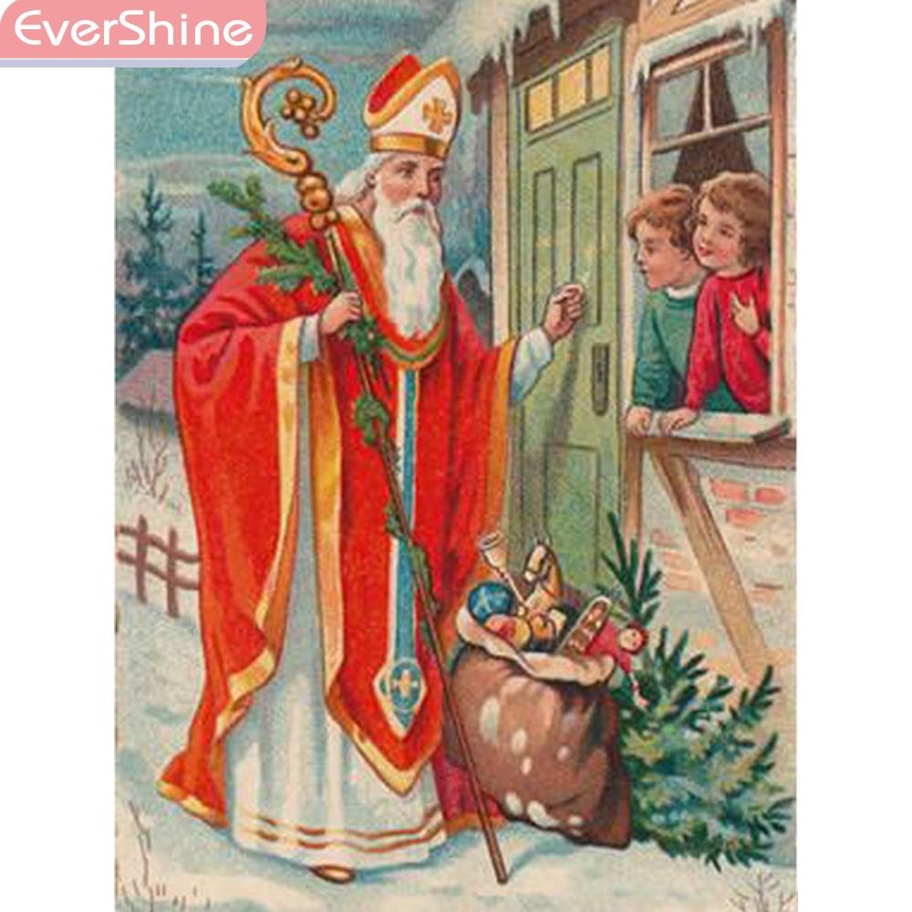 EverShine DIY, bordado de diamantes, Cuadrado completo/redondo, religión, pintura de diamantes, imagen de Santa Claus de diamantes de imitación, decoración de pozo