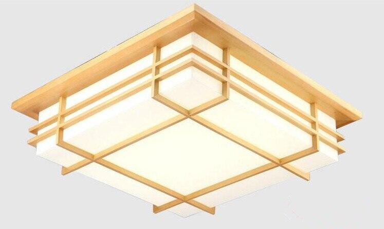 Japonês iluminação interior conduziu a lâmpada de luz de teto quadrado 45-55cm tatami decoração conduziu a lâmpada de papel de madeira restaurante sala de estar corredor