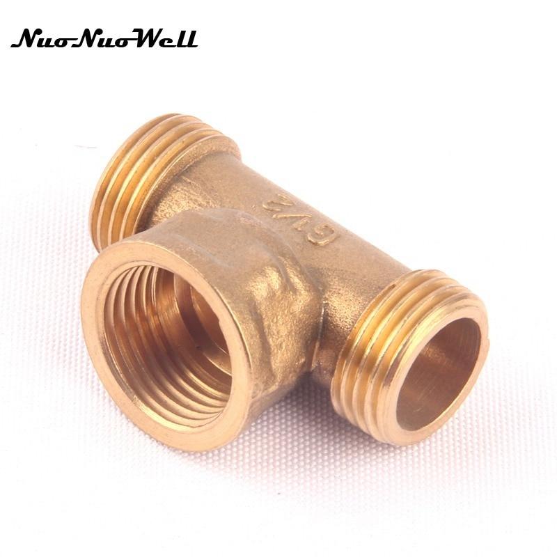 """1 Uds. NuoNuoWell latón 1/2 """"1/2 hembra a"""" macho 3 vías manguera Conector en T riego del jardín adaptador accesorios de tubería de Gas"""