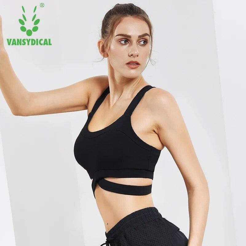 Vansydical Sexy Yoga Bh Frauen Backless Yoga Bh Sport Unterwäsche Stoßfest Push-Up Fitness Weste Tops Ausbildung Atmungs Bh