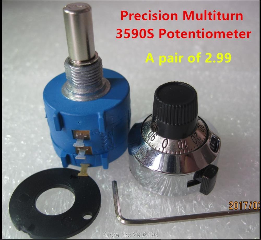 1 шт. 2K Ohm 3590S-2-202L прецизионный мультиповоротный потенциометр 10 кольцевой регулируемый резистор поворачивается Счетный циферблат поворотна...