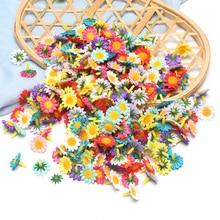 50PCs 2cm mix Silk Sunflower Artificial Flower Home Party Decoration Scrapbooking Accessories Wreath DIY Fake Flowers