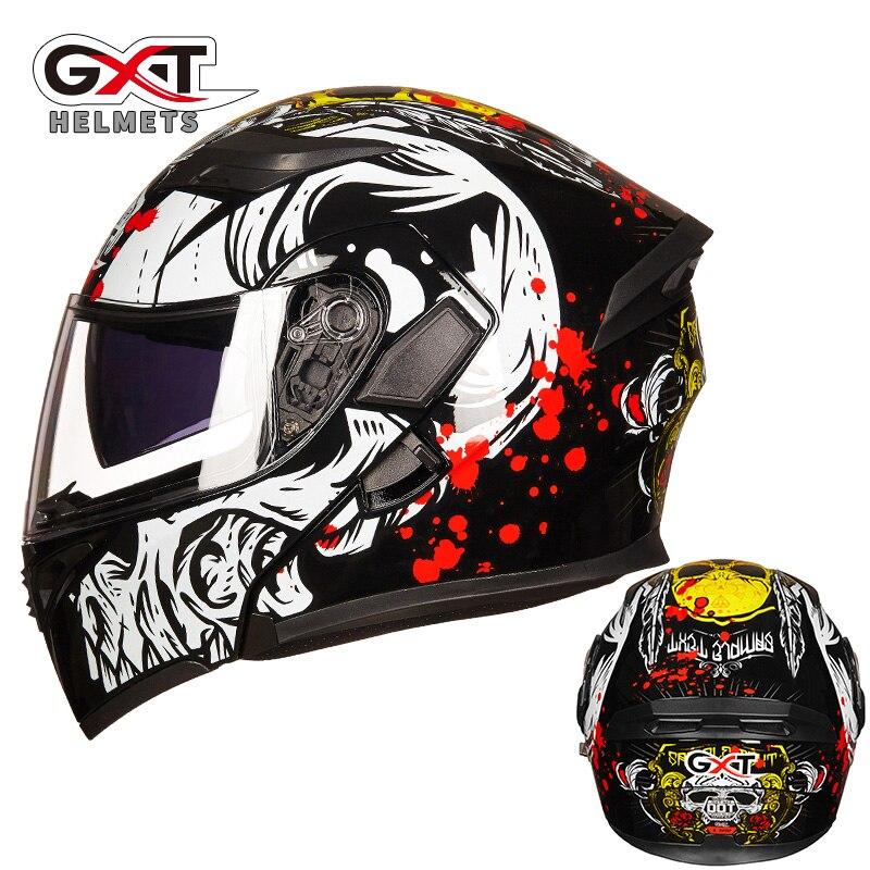 Casco de carreras Capacete GXT-902 para motocicleta, casco de carreras para motocicleta casco de carreras con tapa de doble lente