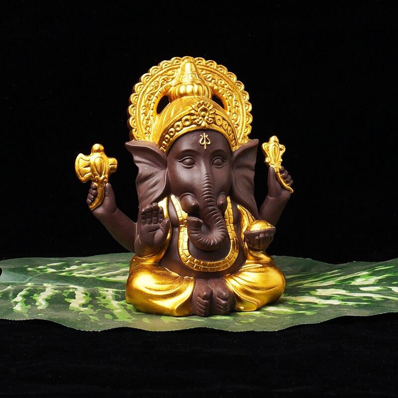 Ganesha série casa decoração estátuas de buda estatuetas cerâmica decoração areia roxa branco porcelana elefante buda