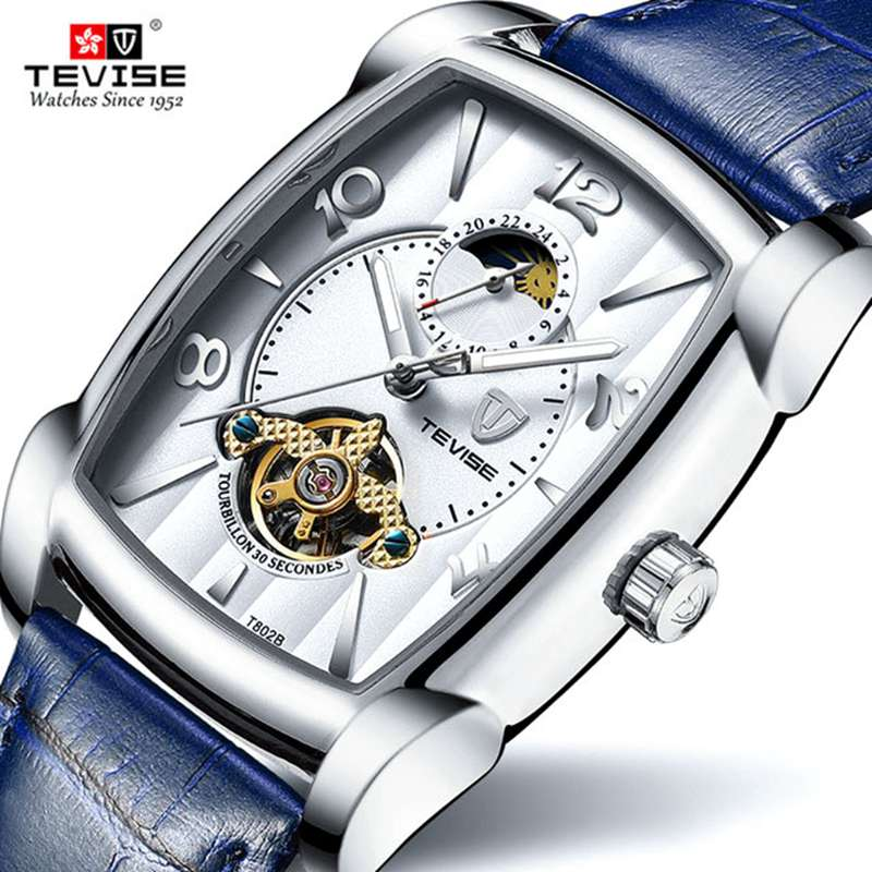 Hot 2019 TEVISE Brand Men Mechanical Watch Top Fashion luxury Automatic Genuine Leather Sport Watche