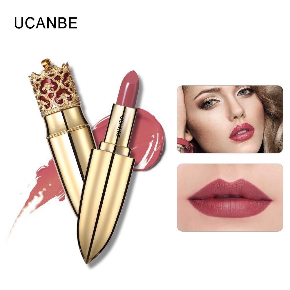 Brand Crown Velvet Matte Lipstick Makeup Golden 5 Color Nude Long Lasting Pigment Lips Stick Natural Cosmetic Lip Rouge