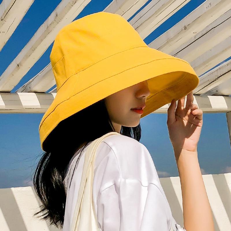 Lady Summer Beach Cap Large Wide Brim Fisherman Hats Women Fashion Foldable Sun Anti-UV Chin Wind String Plain Bucket