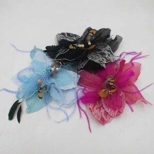21*21cm Lace Organza Decoratived Flower Brooch Fascinator Hat Headwear Headpiece