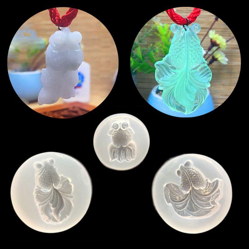 ANGELADY 3Pcs/Set Cartoon Goldfish Pendant Mold Resin Casting Mold DIY Jewelry Making Handmade Jewelry Tools