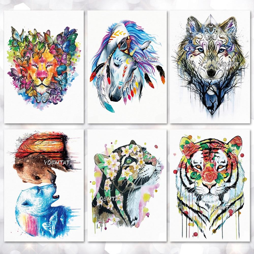 Wodoodporna tymczasowa naklejka tatuaż akwarela zwierząt koń wilk nowoczesny wzór tatuaż transferu wody body art fałszywy tatuaż
