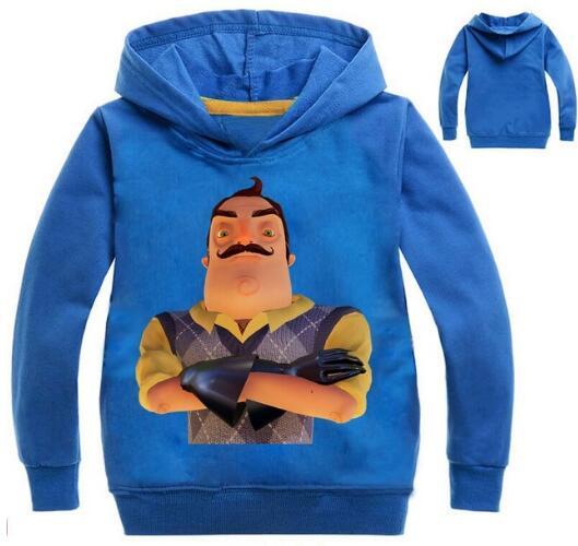 New Autumn Hooded Sweatshirt For Boys Hello Neighbour T-shirt For Girls Long Sleeve Shirt Kids Sportwear For Teen Clothing Baby