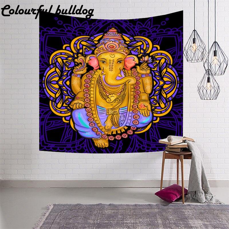 Ganesha de la India, tapiz de pared de salón, patrón de meditación, mesa de comedor, pícnic al aire libre, esterilla, toallas de playa, manta de decoración de dormitorio