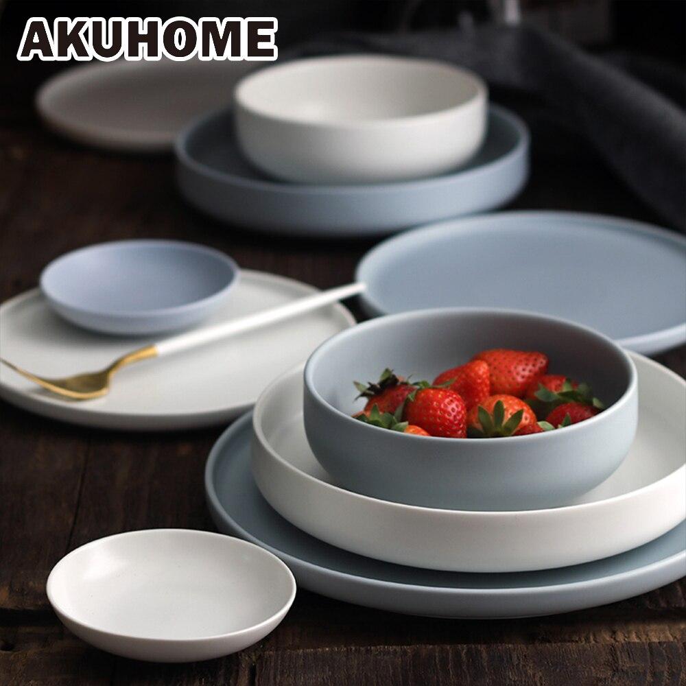 Azul Mate y estilo blanco porcelana de ceniza de hueso placa 6 8 10 pulgadas de la placa de sopa de placa plana lavavajillas disponibles
