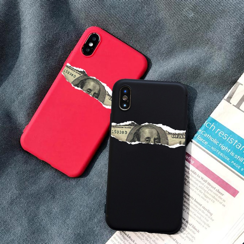 Funda de teléfono Bioumei para iphone XS Max XR X 8 7 6S 6 Plus 5 5S contraportada diseño de dólar Retro carcasas suave TPU mate Capa