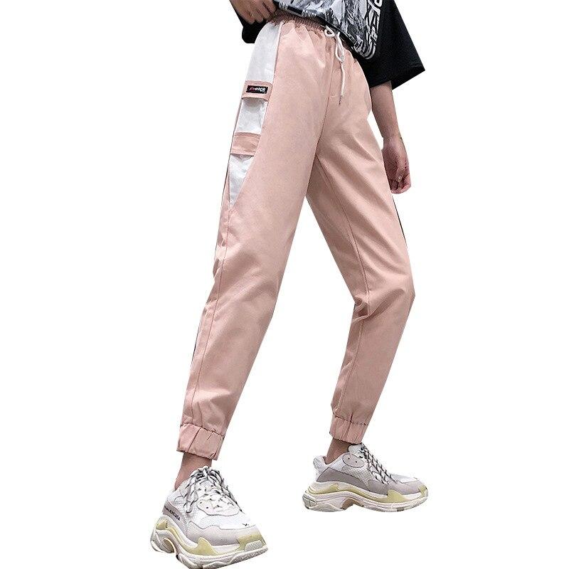 2019 verano Mujer Pantalones hasta el tobillo Casual encaje-up pantalones sueltos cintura alta ropa de calle Patchwork Cargo Pantalones tamaño 2XL