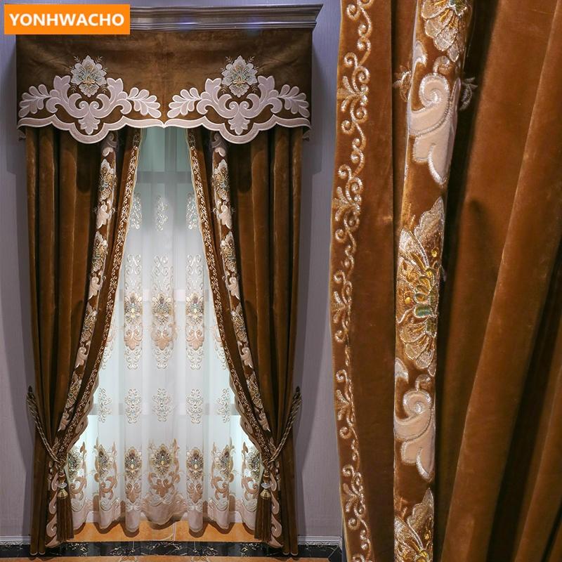 Cortinas personalizadas de alta gama europeo de lujo sala de estar gruesa de terciopelo holandés paño de café blackout cortina de tul valance drape B428