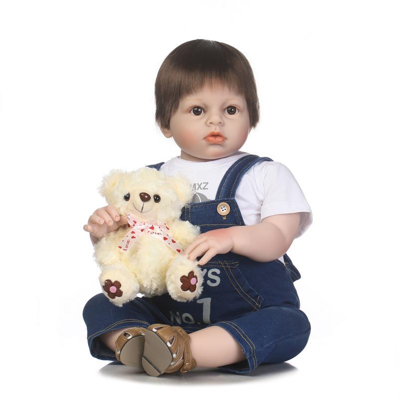 """Boy Reborn toddler dolls NPK 28""""70cm silicone reborn baby dolls handmade bebe alive reborn bonecas best children gift toy"""