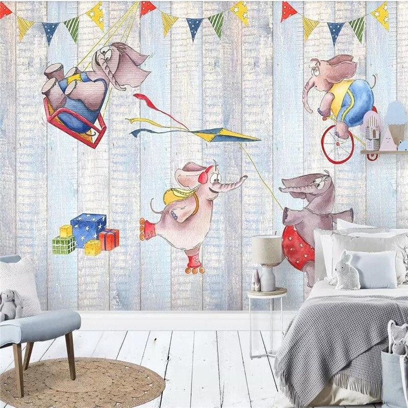 Пользовательская 3D Роспись слон мультфильм детская комната фон украшение стены живопись обои роспись фото обои