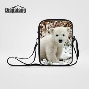 Dispalang Mini Messenger Bags for Men Women Polar Bear Print Crossbody Bags Kids Boys Girls Shoulder Bags Children Book Bag