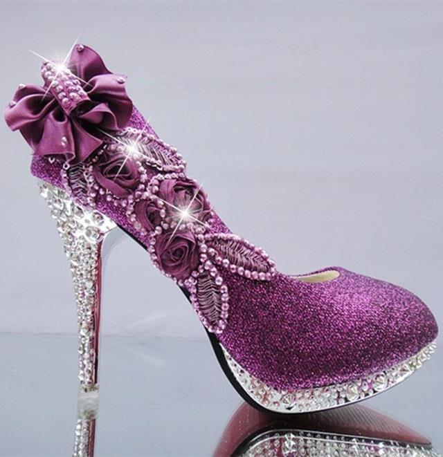 Women Pumps Glitter Gorgeous Wedding Bridal Evening Party Crystal High Heels Women Shoes Sexy Woman Pumps Fashion Bridal Shoes