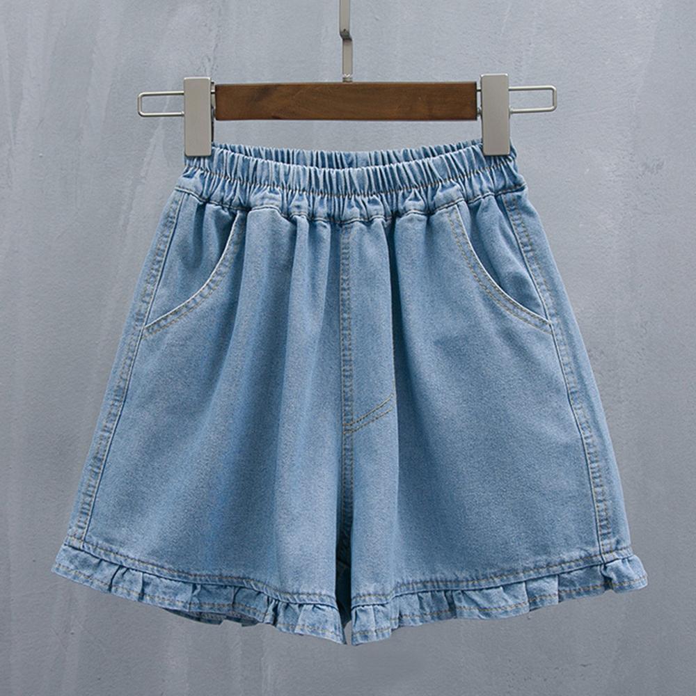 Moda mujer Short Beach Outdoor Casual suelta Color sólido pantalón señoras tamaño grande suelto encaje alta cintura Denim Shorts 2019 caliente