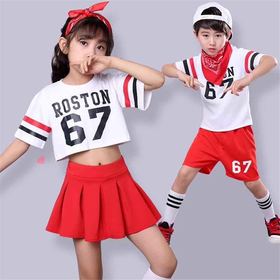 Hip Hop Boys Girls Jazz Dance Costumes ROSTON 67 Letter Printed Tees Skirt Children Dance Set Kids Performance Clothes Sets