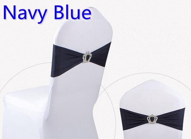 Hebillas de corona de color azul marino banda de LICRA para decoración de sillas para boda banda de LICRA elástica lazo cinta de lycra cinturón en venta