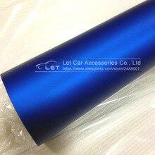 Rouleau de Film pellicule vinyle bleu Chrome mat   En Satin métallique, sans bulles, taille 1.52x20M/Roll, pour style automobile, haute qualité
