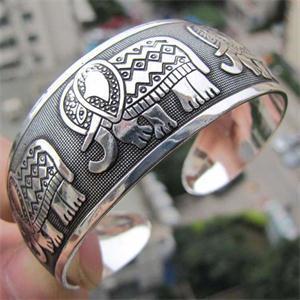 Cool Vintage Estilo bohemio elefante tibetano Tíbet tótem pulseras elegante redondo Metal Cuff brazaletes de joyería de mujer