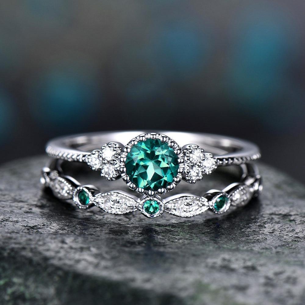 2 unids/set anillos para las mujeres chica 2019 de moda de Color plata anillos de compromiso de Boda Verde azul púrpura de cristal de piedra de la joyería regalos