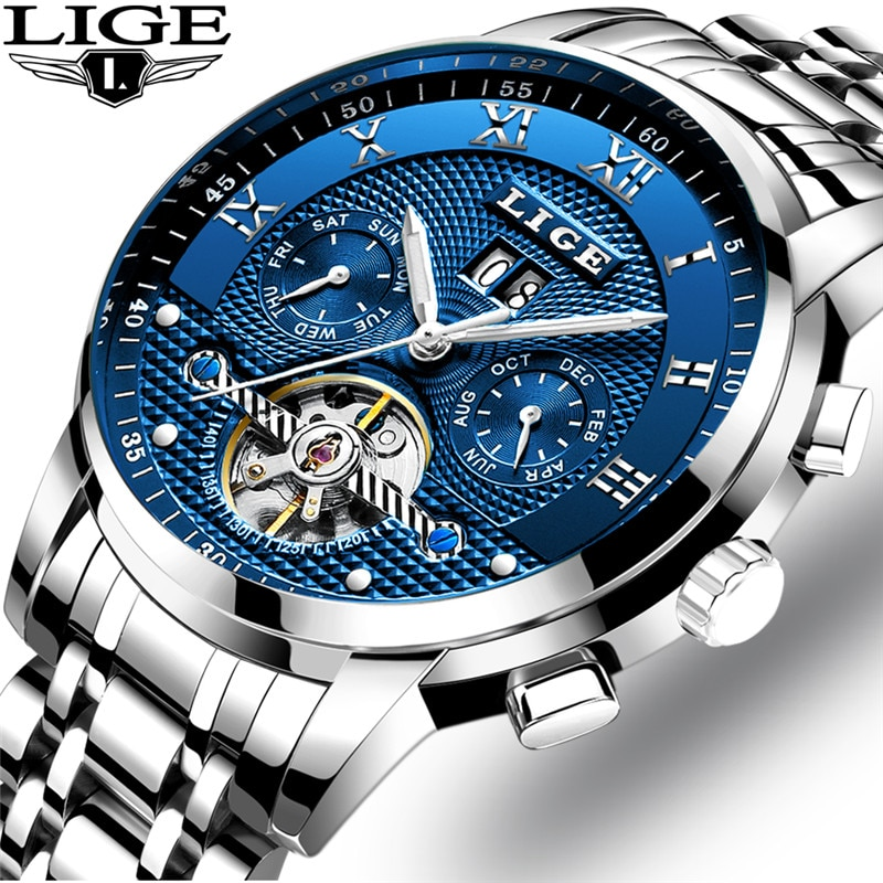 LIGE Mens Watches Fashion Top Brand Luxury Business Automatic Mechanical Watch Men Casual Waterproof