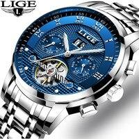 Часы наручные LIGE Мужские автоматические, модные брендовые Роскошные деловые механические повседневные водонепроницаемые, с коробкой