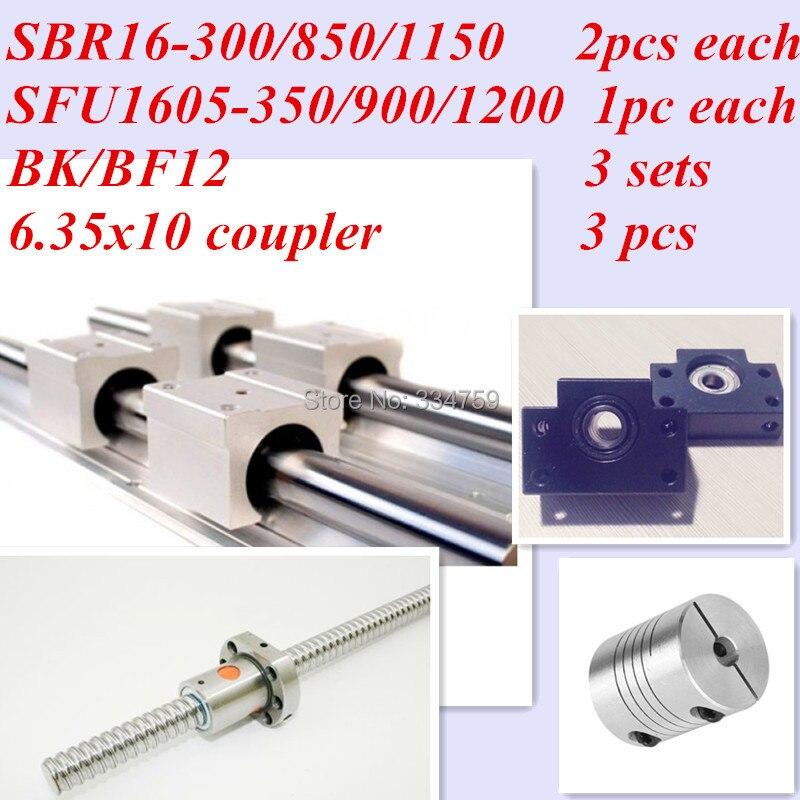 CNC أجزاء مجموعة: 2 قطعة من كل SBR16-300/850/1150 مللي متر و 3 قطعة من SFU1605-350/900/1200 مللي متر و 3 قطعة من BK/BF12 و المقرنات ل cnc
