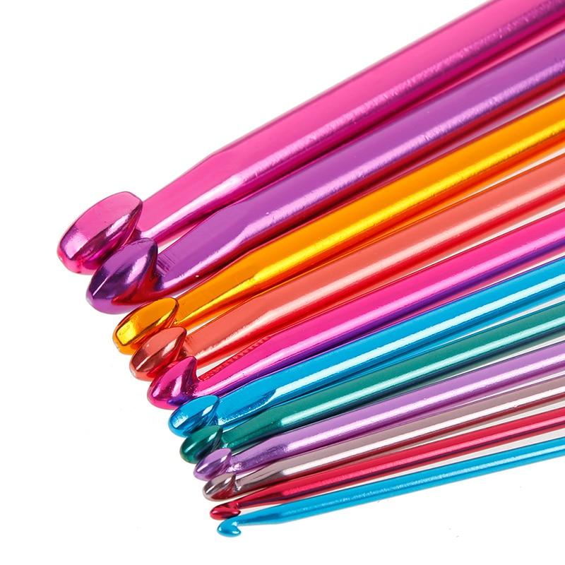 "Conjunto de agulhas de malha multicolorida, conjunto de agulhas de alumínio de 2-8mm 10.6 ""com 11 peças de crochê tunisian afiano"