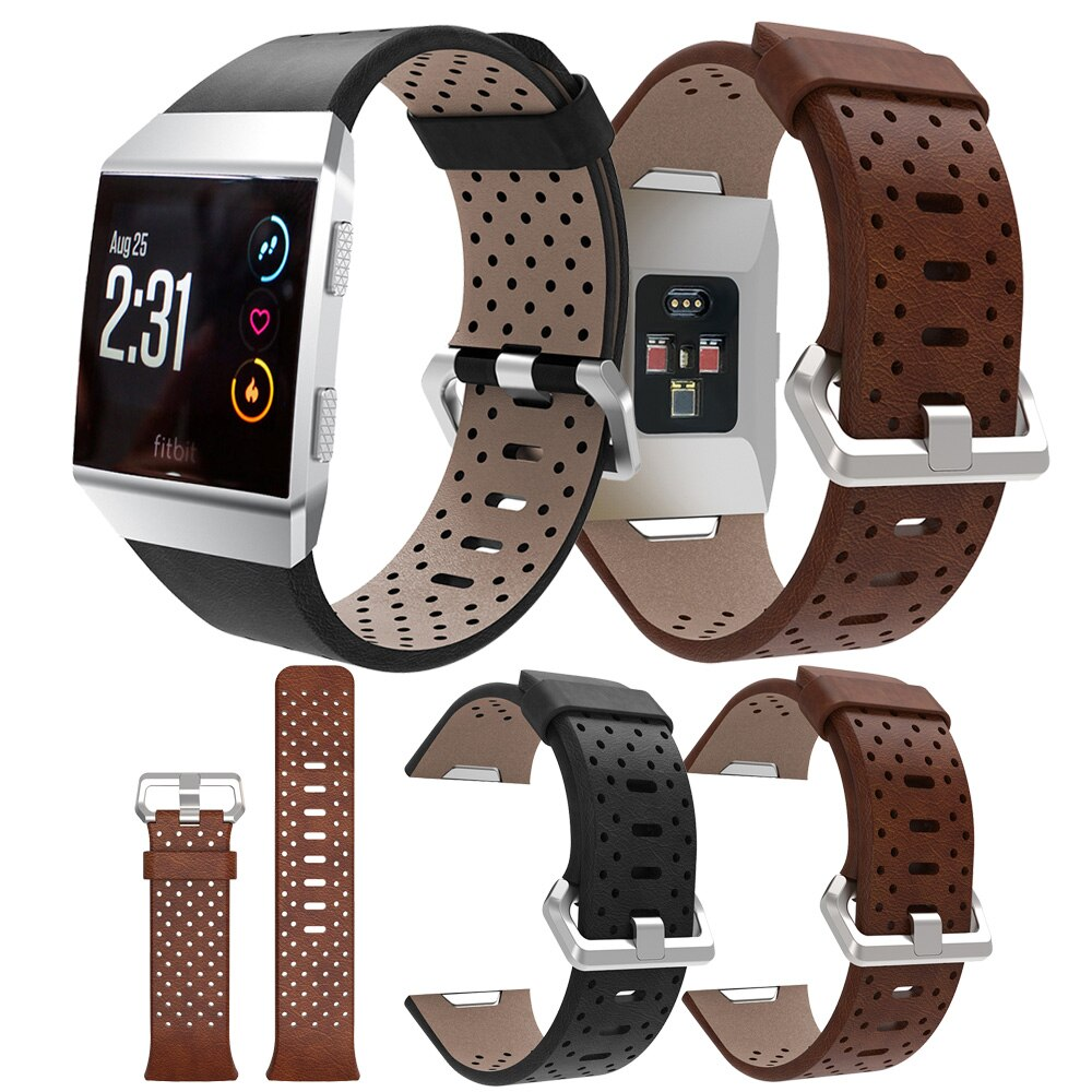 Reemplazo de deporte banda para Fitbit iónica correa de cuero perforado de banda de reloj de pulsera correas de reloj inteligente