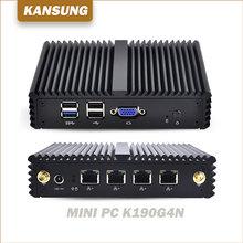 Le plus récent ordinateur industriel pas cher J1900 sans ventilateur Mini PC 4 LAN Quad Core Ubuntu Windows Linux pare-feu Barebone X86 ordinateur de bureau