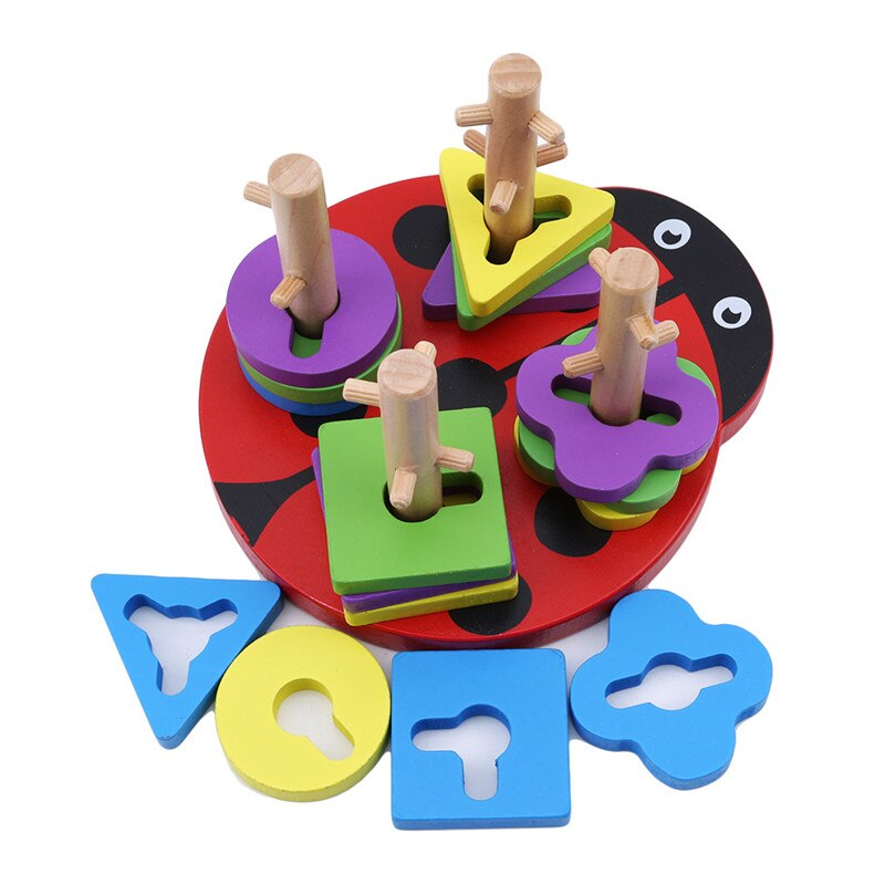 Nuevos juguetes educativos para primera infancia forma de palo de madera forma de geometría aprendizaje y juguete educativo comprensión de Color y forma de juguete