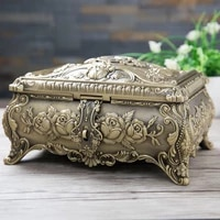 size xl vintage jewelry box 2 layers metal art craft trinket box flower carved with stone decor gift package home decoration