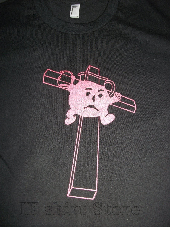 Drink the kool-aid camiseta impresa a mano Unisex camiseta hombres mujeres edgy negro camiseta koolaid hombre tinta roja ateo gracioso