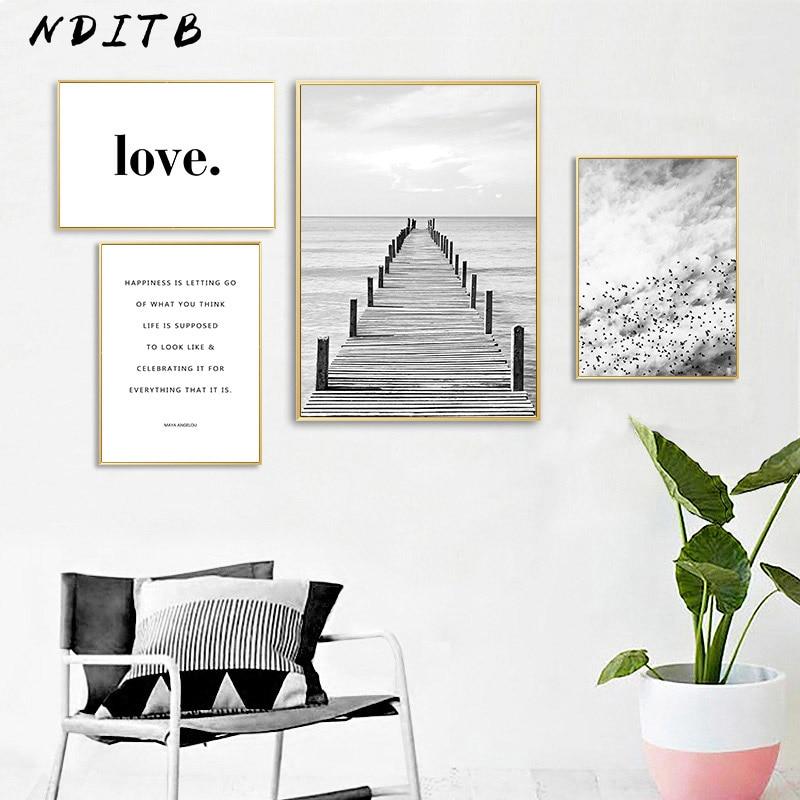 Escandinavo preto branco paisagem lona poster citações arte da parede impressão pintura nordic decoração imagem moderna casa decoração