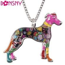 Bonsny Maxi Verklaring Metalen Legering Galgos Greyhound Hond Sieraden Choker Enamel Ketting Ketting Kraag Hanger Mode Voor Vrouwen