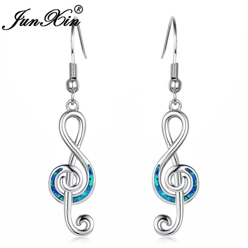 JUNXIN Weiblichen Musik Note Lange Tropfen Ohrringe Für Frauen Silber Farbe Blau Weiß Feuer Opal Welle Ohrringe Hochzeit Geschenk